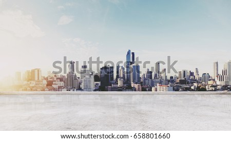 Panoramic Bangkok city in sunrise modern buildings, and concrete deck floor. City Background #658801660