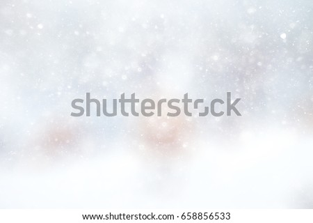 Snowfall texture of snowflakes on blurry background design weather