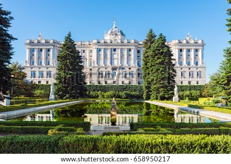 Royal Palace in Madrid, Spain viewed from the sabatini gardens. Royalty-Free Stock Photo #658950217
