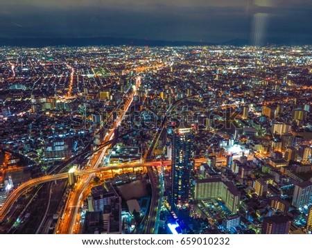 japan skyline, skyscraper, osaka night scape #659010232