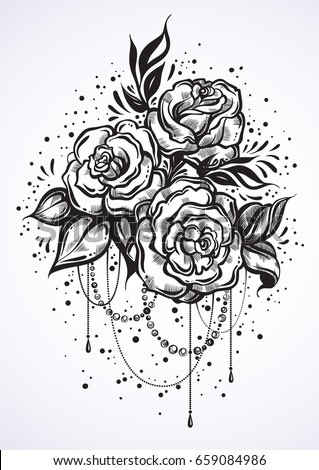 Hand-drawn beautiful roses in linear style. Tattoo art. Graphic vintage composition. Vector illustration isolated. T-shirts, print, posters, textiles #659084986