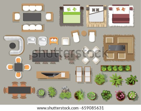 Interior icons top view, tree ,furniture, bed,sofa, armchair, for architectural or landscape design, for map.vector illustration Royalty-Free Stock Photo #659085631