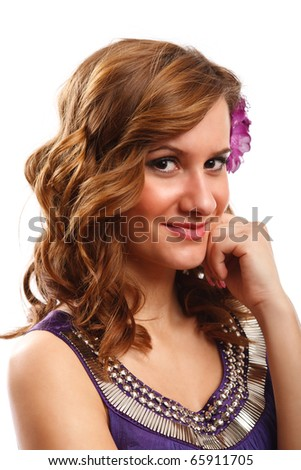 Closeup portrait of a blonde woman with a flower in her hair, isolated on white background #65911705