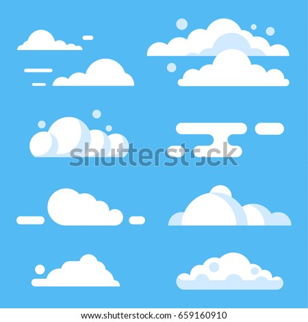 Cloud set. Blue sky and white clouds. Nature weather elements vector flat stock illustration set