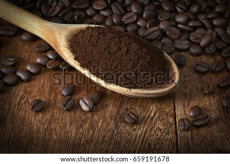 Spoon with Roasted Coffee and Ground On Table #659191678