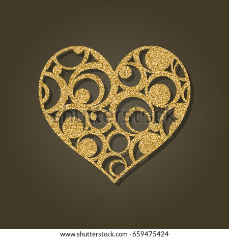 Gold heart with round modern pattern, element design, wedding decoration, Valentine's day. Vector illustration. #659475424