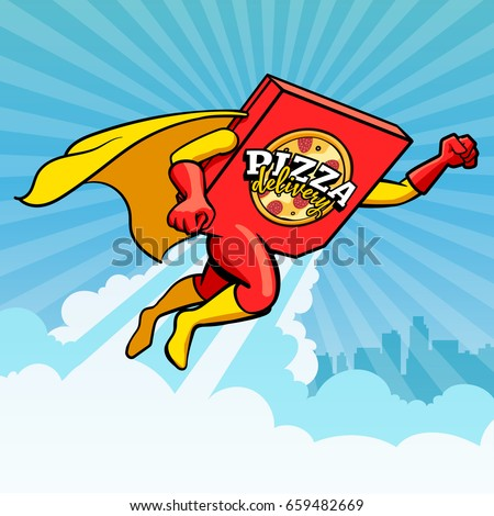 Symbol, vector logo of pizza delivery flying hero