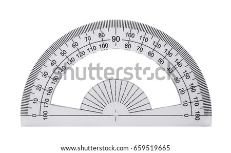 Plastic ruler, protractor isolated on white background