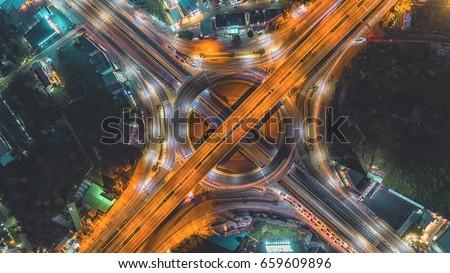 Road at night / City scape Bangkok / Circle road #659609896