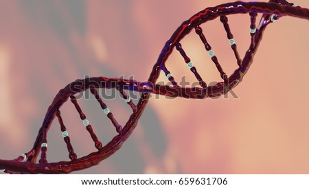 DNA strand helix concept, DNA research CRISPR gene editing, chromosome representation, 3D rendering  #659631706