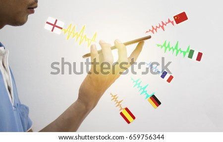 iot, internet of things, translation technology concept, the man holding smart phone and use voice command to translate  from english language  translate to another language
