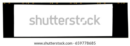 Film frame. Panoramic large format 6x17cm color slide 120 or 220 type (60mm) medium format film strip template with copy space for image or text isolated on white background with work path.