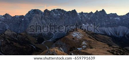 Color sunset panorama over mountains  #659791639