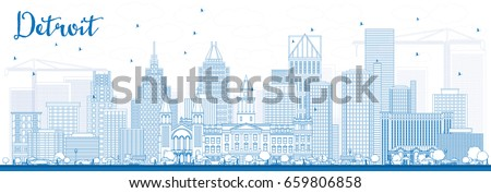 Outline Detroit Skyline with Blue Buildings. Vector Illustration. Business Travel and Tourism Concept with Modern Architecture. Image for Presentation Banner Placard and Web Site.