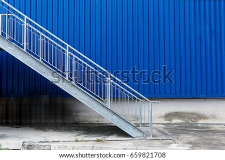 iron stair and wall zinc blue. #659821708