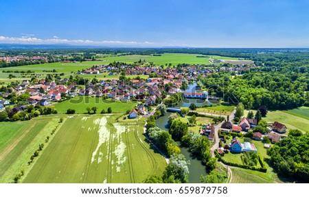 Aerial panorama of Eschau, a village near Strasbourg - Bas-Rhin, France #659879758