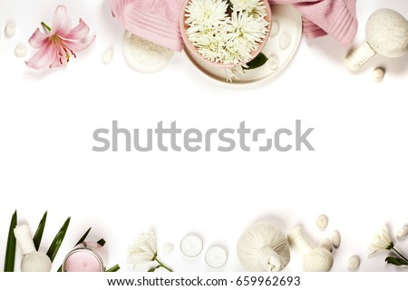 Health and beauty template with Natural spa products on white background #659962693