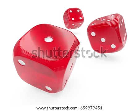 3d rendering three red glass rolling dices isolated on white background #659979451