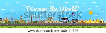 Discover the World poster with famous attractions vector illustration. Taj Mahal, Todaydzi, Sagrada Familia, Chichen Itza pyramid, Empire State Building and other. Tour guide for traveling agency #660114799
