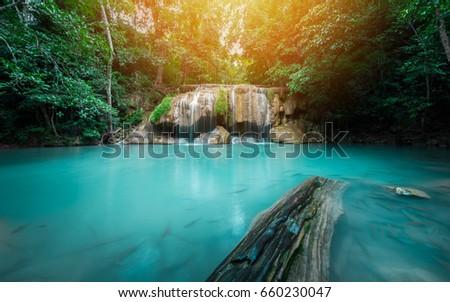 Waterfall in forest at Erawan waterfall National Park, Kanchanaburi, Thailand #660230047