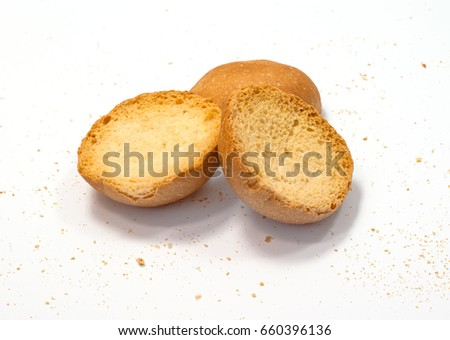 French toast, biscuits, dried bread on white background #660396136