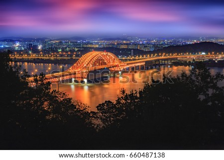Banghwa bridge at night, South Korea. #660487138