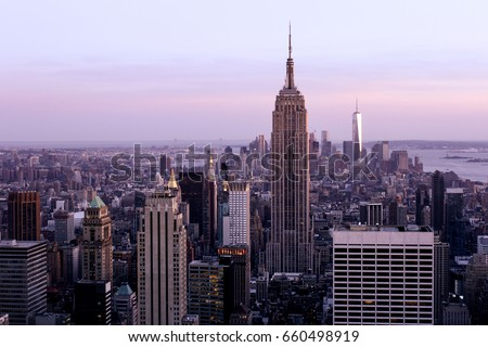 NEW YORK, USA - MAY 16,2015: MANHATTAN VIEW AT SUNSET