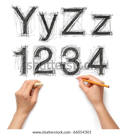 sketch letters and numbers with hand and pencil with clipping path
