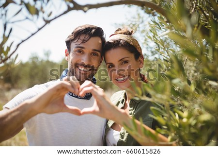 Portrait of smiling couple making heart shape by trees at olive farm #660615826