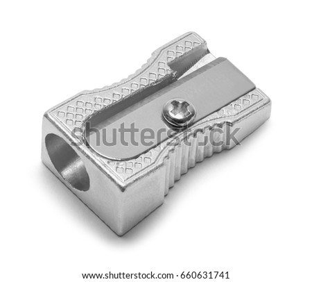 Metal Pencil Sharpener Isolated on White Background. Royalty-Free Stock Photo #660631741