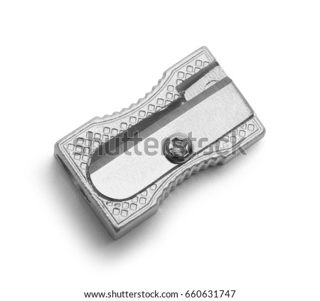 Metal Pencil Sharpener Isolated on White Background. Royalty-Free Stock Photo #660631747