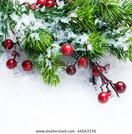 Christmas Tree and Decorations over Snow background #66063196