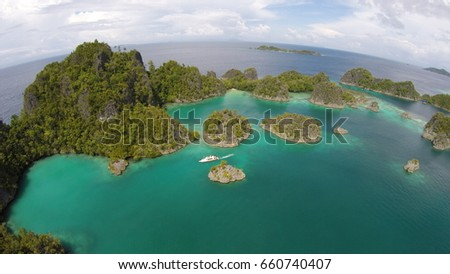 This is Paradise, Diamond Grains fallen here, Piaynemo, Raja Ampat, West Papua, Indonesia #660740407