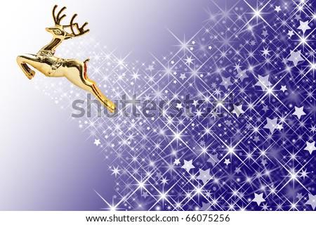 Golden deer and star background