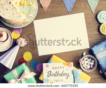 Birthday Celebration with Cake Presents Card Copy Space