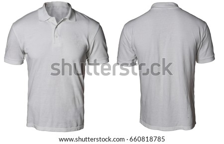 Blank polo shirt mock up template, front and back view, isolated on white, plain gray t-shirt mockup. Polo tee design presentation for print. #660818785