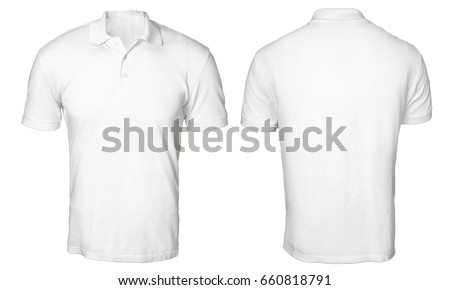 Blank polo shirt mock up template, front and back view, isolated on white, plain t-shirt mockup. Polo tee design presentation for print. #660818791