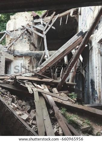 abandoned destroyed building  #660965956