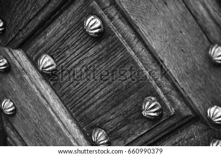 ancient door in Prague - close up view #660990379