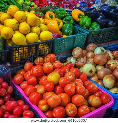 Vegetables and fruits in the baskets in a Thai market. Close up shot #661005307