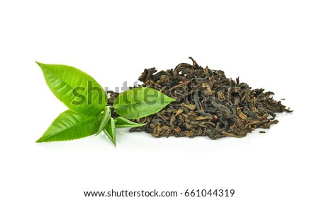 green tea leaf isolated on white background #661044319