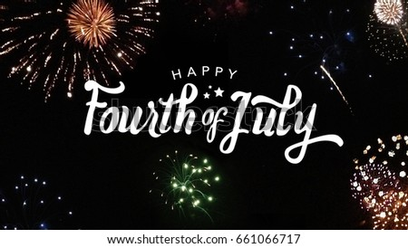 Happy Fourth of July Typography with Fireworks in Night Sky #661066717