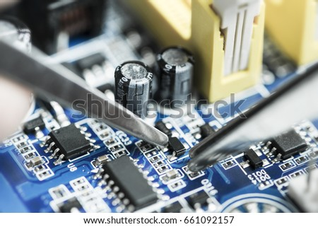 Computer motherboard during service #661092157