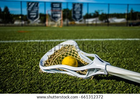 Single yellow lacrosse ball on the grass front of a training net
