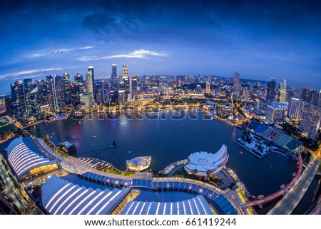 Singapore cityscape at twilight on rooftop on Marina bay sands, 28 May 2017 #661419244