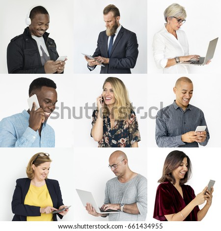 Collection of diverse people using digital devices #661434955