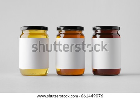 Honey Jar Mock-Up - Three Jars. Blank Label #661449076