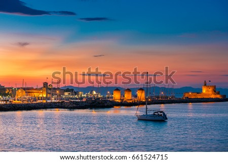 The colors of sunset and twilight in Rhodes, Greece #661524715