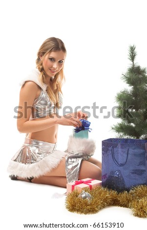 young beauty girl with gift in the hand #66153910