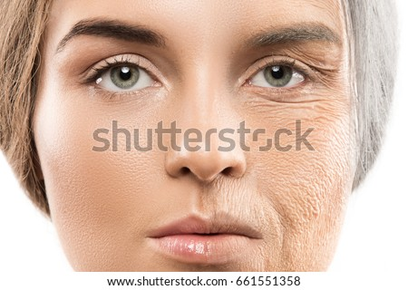 Aging concept. Comparison of young and old. Real result achieved with work of professional makeup artist. Not CGI. Royalty-Free Stock Photo #661551358